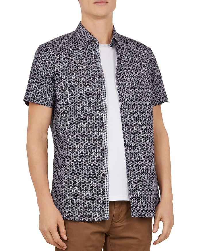 9c168d852677 Ted Baker - Enyone Hex Line-Print Slim Fit Shirt
