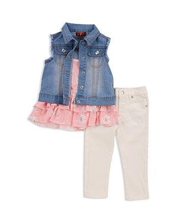 7 For All Mankind - Girls' Denim Vest, Ruffled Tank & Jeans Set - Baby