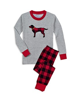Sara's Prints - Unisex Plaid Dog Pajama Shirt & Pants Set - Little Kid