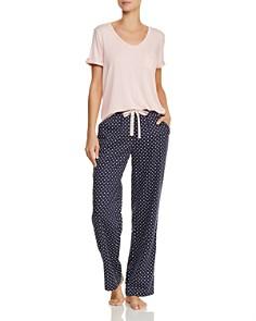 Jane & Bleecker New York - Short Sleeve V-Neck Tee & Polka Dot PJ Pants