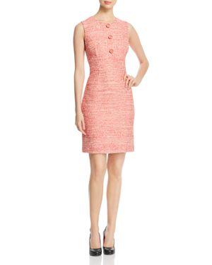 Paule Ka Button-Detail Tweed Sheath Dress