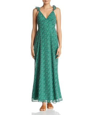 SADIE & SAGE Sage The Label Ditsy Ruffled Tie-Back Maxi Dress in Green Multi