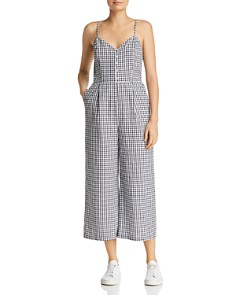 Lost and Wander - Mimosa Cropped Wide-Leg Gingham Jumpsuit