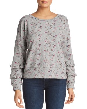 BILLY T Floral Ruffle Sleeve Sweatshirt in Gray Heather