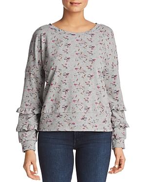Billy T Floral Ruffle Sleeve Sweatshirt