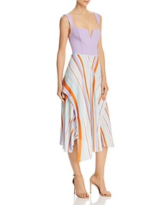 ASTR the Label - Pallette Stripe Overlay Asymmetric Skirt