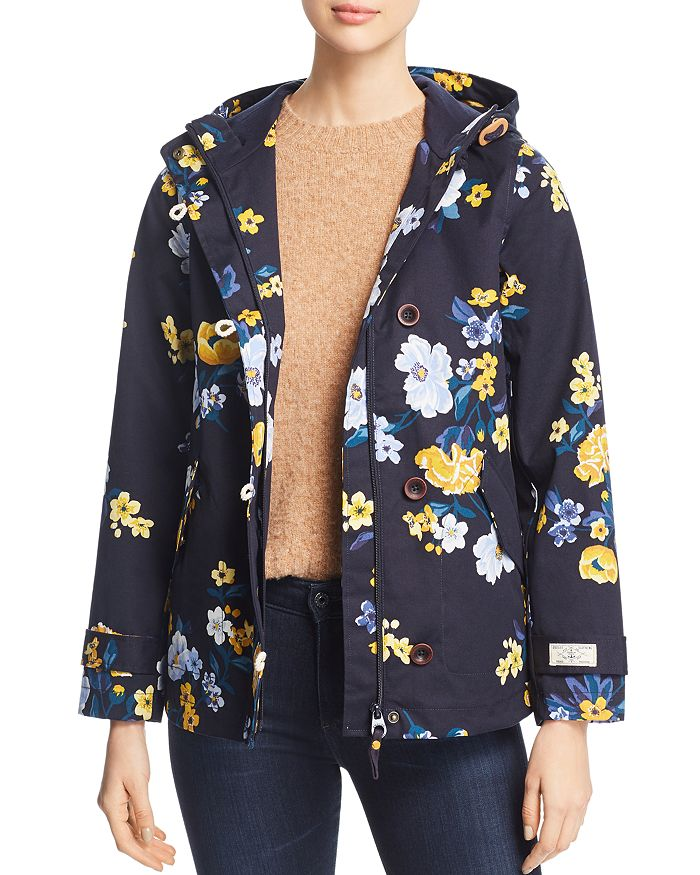 Joules Coast Print Raincoat In Navy Bouquet