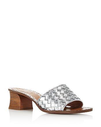 Bottega Veneta - Women's Woven Metallic Leather Block Heel Slide Sandals