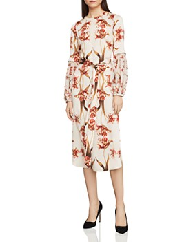 Bcbgmaxazria Tulip Print Balloon Sleeve Shift Dress