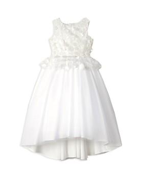 Badgley Mischka - Girls' Floral Appliqué Peplum Dress - Little Kid