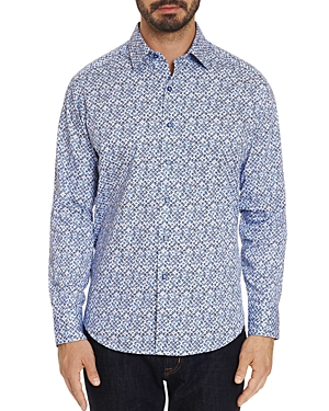 Robert Graham T-shirts CELADON ABSTRACT-PRINTED CLASSIC FIT SHIRT