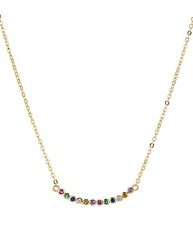 """AQUA - Curved Rainbow Bar Pendant Necklace in 14K Gold-Plated Sterling Silver, 15"""" - 100% Exclusive"""