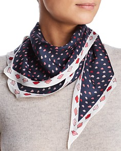 kate spade new york - Lips Print Diamond Silk Scarf