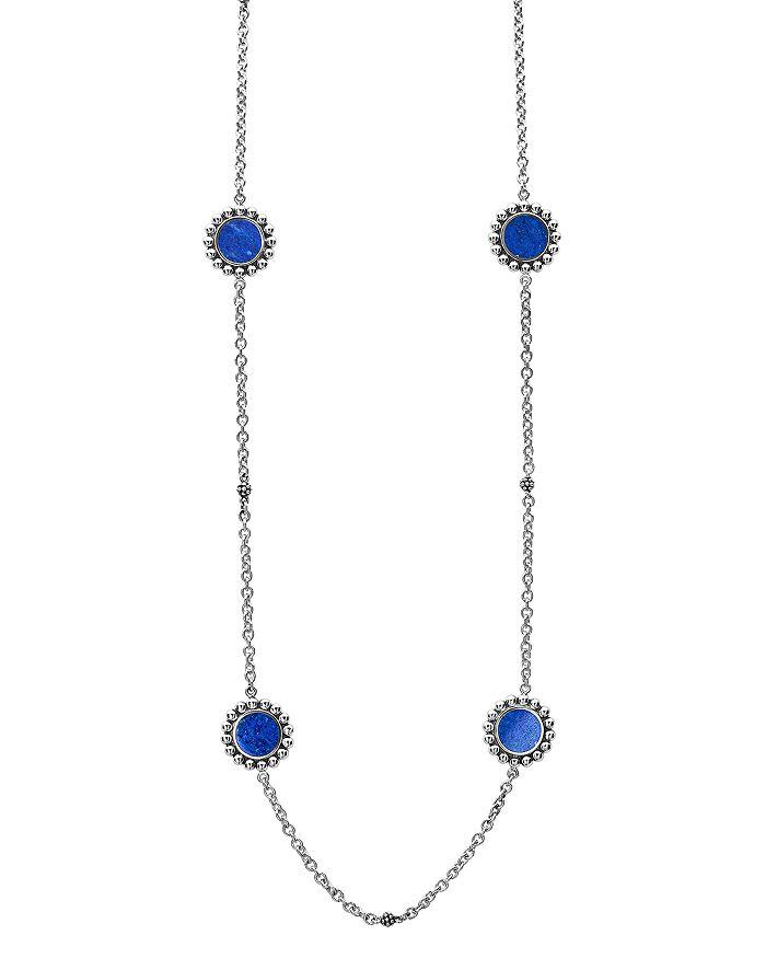 "LAGOS - Sterling Silver Maya Lapis Station Necklace, 34"""