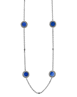 Lagos Accessories STERLING SILVER MAYA LAPIS STATION NECKLACE, 34