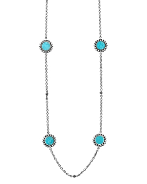 Lagos Sterling Silver Maya Turquoise Station Necklace, 34