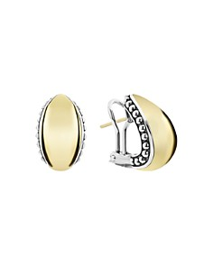 LAGOS - 18K Yellow Gold & Sterling Silver High Bar Huggie Earrings