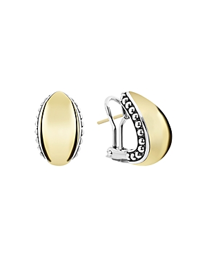 Lagos  18K YELLOW GOLD & STERLING SILVER HIGH BAR HUGGIE EARRINGS