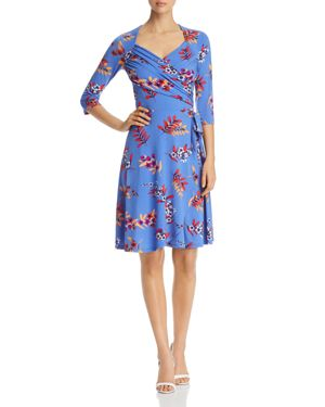 Leota Ruched Floral-Print Faux-Wrap Dress