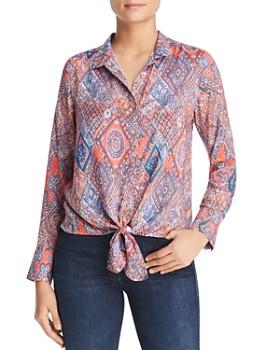 Tolani - Tile-Print Tie-Front Blouse
