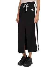 The Kooples - Striped Logo Lettered Midi Skirt