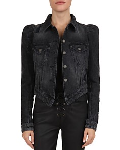 The Kooples - Puff-Sleeve Distressed Denim Jacket