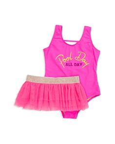Shade Critters - Girls' Pool Day All Day One-Piece Swimsuit & Tutu Set - Little Kid