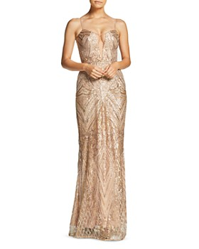 Dress the Population - Mara Plunging Embellished Gown