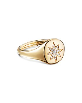 David Yurman - Cable Collectibles Compass Mini Pinky Ring in 18K Gold with Diamonds