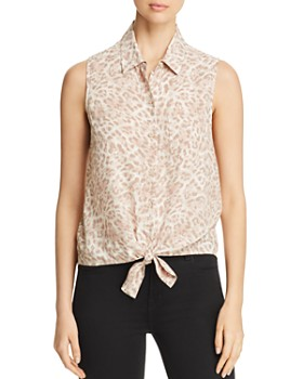 dd1bfd9a06 BeachLunchLounge - Animal Print Tie Front Top ...