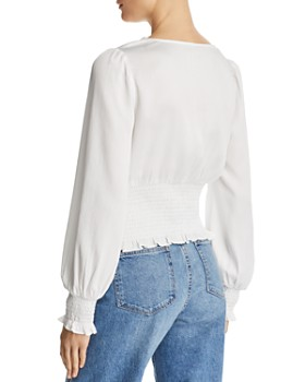 Lucy Paris - Sivan Smocked Cropped Top