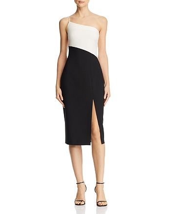 LIKELY - Cassidy Two-Tone One-Shoulder Midi Dress