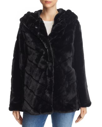 Genevieve Hooded Faux Fur Coat   100 Percents Exclusive by Apparis
