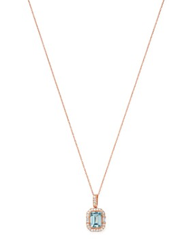 "Bloomingdale's - Aquamarine & Diamond Pendant Necklace in 14K Rose Gold, 18"" - 100% Exclusive"