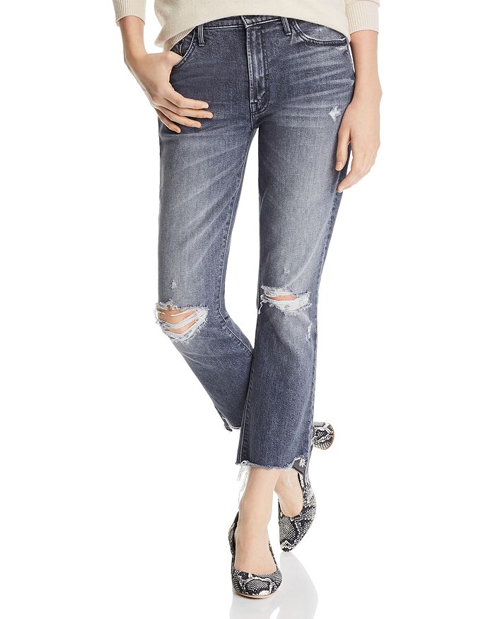 MOTHER - The Insider Chewed Step-Hem Cropped Flared Jeans in Pedal To The Metal Destroyed