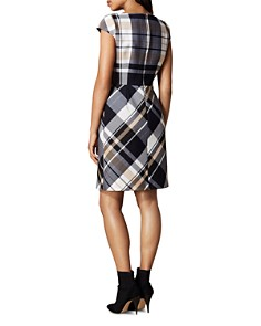 KAREN MILLEN - Cap-Sleeve Plaid Sheath Dress