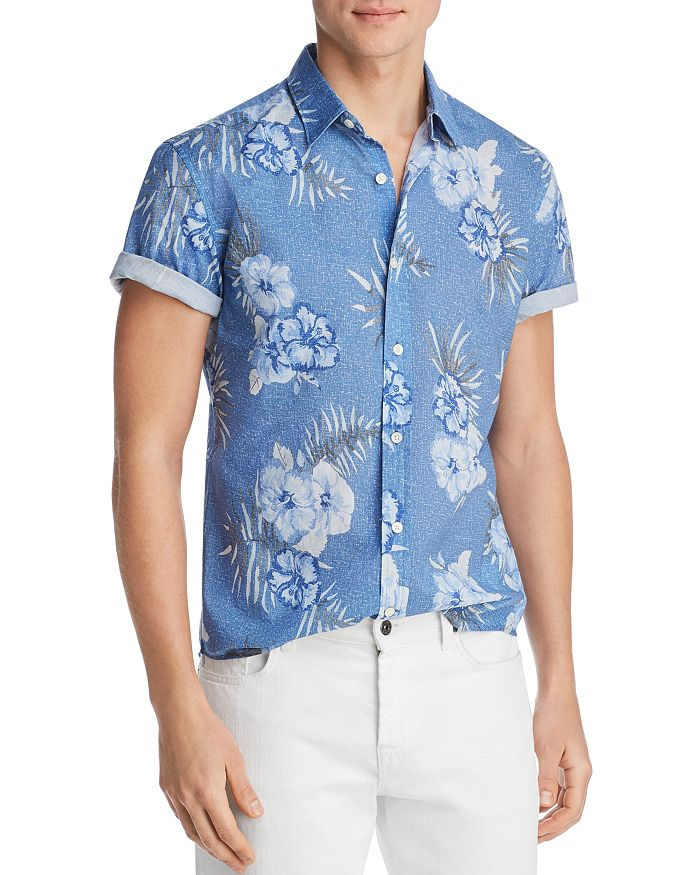 The Men's Store at Bloomingdale's - Short-Sleeve Floral-Print Classic Fit Poplin Shirt - 100% Exclusive