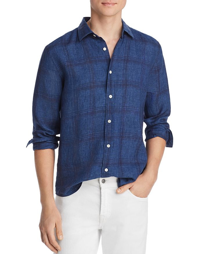 The Men's Store at Bloomingdale's - Large-Plaid Linen Classic Fit Shirt - 100% Exclusive