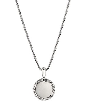 David Yurman - Sterling Silver Cable Collectibles Initial Charm Necklace with Diamonds, 18""