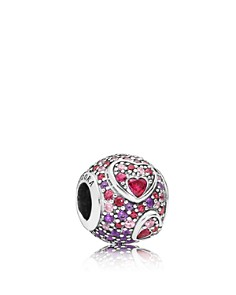 PANDORA - Sterling Silver & Cubic Zirconia Asymmetric Hearts of Love Round Charm