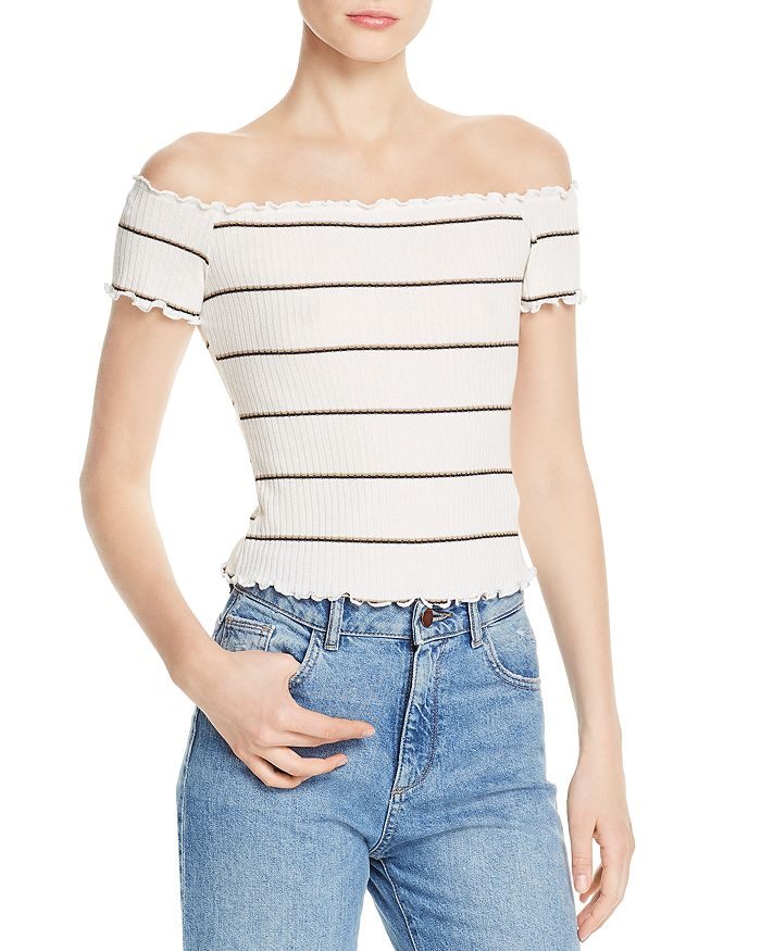 Lost and Wander - Striped Off-the-Shoulder Top