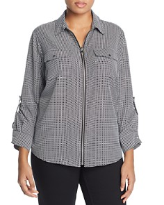 MICHAEL Michael Kors Plus - Geo Print Zip Front Top