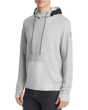 Michael Kors Mixed-Media Hooded Funnel-Neck Sweatshirt