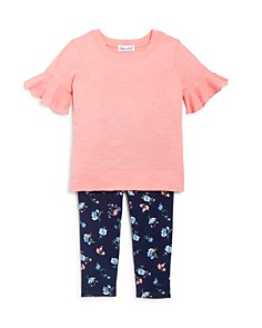 Splendid - Girls' Flounce-Sleeve Tee & Floral Print Leggings Set - Baby
