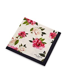 Ted Baker - Rosepok Rose Print Silk Pocket Square