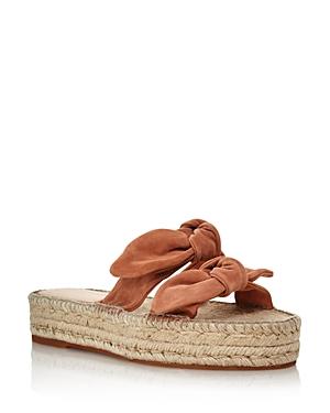 Loeffler Randall Platforms Women's Daisy Open-Toe Leather Espadrille Platform Slide Sandals