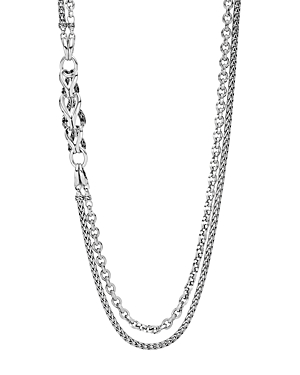 John Hardy Accessories STERLING SILVER CLASSIC CHAIN DOUBLE-ROW STATION NECKLACE, 30