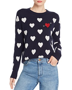 Minnie Rose - Embellished Intarsia-Heart Cashmere Sweater