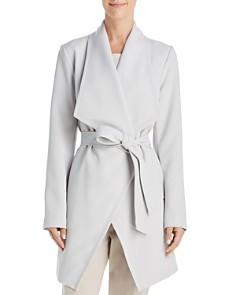 T Tahari - Abbey Drape Front Crepe Trench Coat