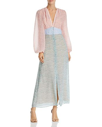 Divine Heritage - Color-Blocked Floral Maxi Dress